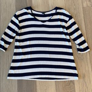 Theory Rayner Soft Striped V-Neck Top Small